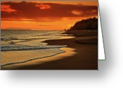 Waimea Greeting Cards - Sunset Greeting Card by Suzanne Cummings