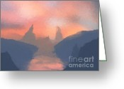 Mountain Landscape Greeting Cards - Sunset valley  Greeting Card by Pixel  Chimp