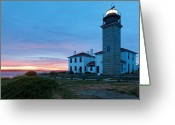 Fresnel Greeting Cards - Sunset View of the Beavertail Lighthouse Greeting Card by George Oze