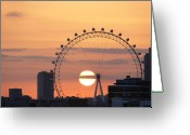Ferris Wheel Greeting Cards - Sunset Viewed Through The London Eye Greeting Card by Photograph by Lars Plougmann