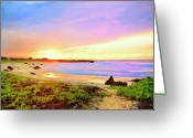Hanalei Beach Greeting Cards - Sunset Walk Greeting Card by Dominic Piperata