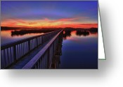 Oceano Greeting Cards - Sunset Walkway Greeting Card by Beth Sargent