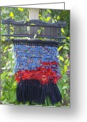 Reds Tapestries - Textiles Greeting Cards - Sunset Weaving Greeting Card by Kay Shaffer