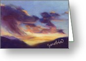 Expressive Pastels Greeting Cards - Sunset West of Town Greeting Card by Zanobia Shalks