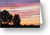 Ohio Country Greeting Cards - Sunset with Psalm Scripture Greeting Card by Pamela Baker