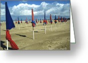 Shorelines Greeting Cards - Sunshade on the beach. Deauville. Normandy Greeting Card by Bernard Jaubert