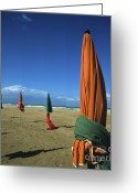 Shade Greeting Cards - Sunshade on the beach. Deauville. Normandy. France Greeting Card by Bernard Jaubert