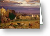 Inness Greeting Cards - Sunshine After Storm or Sunset Greeting Card by George Snr Inness