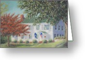 Usa Flag Pastels Greeting Cards - Sunshine Cottage Historic Home Greeting Card by Pamela Poole