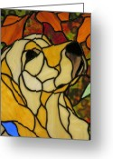 Dog Glass Art Greeting Cards - Sunshine Greeting Card by Ladonna Idell