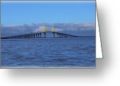 Florida Bridges Greeting Cards - Sunshine Skyway Greeting Card by Amanda Vouglas