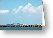 Florida Bridge Greeting Cards - Sunshine Skyway Bridge Greeting Card by Aimee L Maher