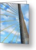Skyway Greeting Cards - Sunshine Skyway Bridge Angle Greeting Card by Amanda Vouglas