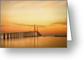Orange Greeting Cards - Sunshine Skyway Bridge Greeting Card by G Vargas