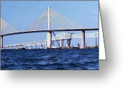 Skyway Greeting Cards - Sunshine Skyway Bridge II Greeting Card by Richard Rizzo