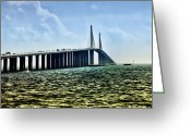 Florida Bridge Digital Art Greeting Cards - Sunshine Skyway Bridge - Tampa Bay Greeting Card by Bill Cannon
