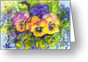 Botanical Drawings Greeting Cards - Sunshiney Faces Greeting Card by Carol Wisniewski