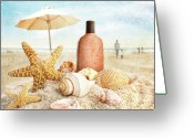 Warm Greeting Cards - Suntan lotion and seashells on the beach Greeting Card by Sandra Cunningham