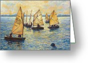 Backlit Painting Greeting Cards - Sunwashed Sailors Greeting Card by Marguerite Chadwick-Juner
