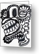 Street Art Drawings Greeting Cards - Sup Greeting Card by Robert Wolverton Jr
