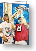 Hall Painting Greeting Cards - Super Bowl Legends Greeting Card by Lance Gebhardt