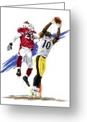 Reception Greeting Cards - Super Bowl MVP Santonio Holmes Greeting Card by David E Wilkinson