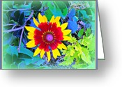 Sun Abstract Digital Art Greeting Cards - Super Daisy Greeting Card by Mindy Newman