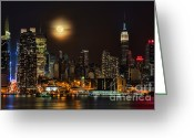 Hudson River Greeting Cards - Super Moon Over NYC Greeting Card by Susan Candelario