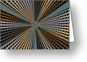 Skyscraper Mixed Media Greeting Cards - Super Skyscraper Abstract Greeting Card by H G Mielke