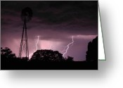 Lightening Storm Greeting Cards - Super Storm Greeting Card by Linda Unger