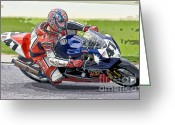 Ama Greeting Cards - Superbike Racer I Greeting Card by Clarence Holmes