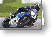 Ama Greeting Cards - Superbike Racer III Greeting Card by Clarence Holmes