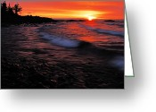 North Shore Greeting Cards - Superior Sunrise 2 Greeting Card by Larry Ricker