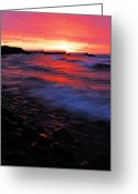 Northshore Greeting Cards - Superior Sunrise Greeting Card by Larry Ricker