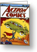 Cape Greeting Cards - Superman Comic Book, 1938 Greeting Card by Granger