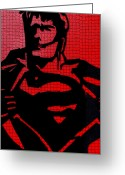 Superman Digital Prints Greeting Cards - Superman On His Bluetooth Greeting Card by Robert Margetts