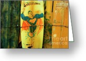 Board Fence Greeting Cards - Superman Surfboard Greeting Card by Bob Christopher