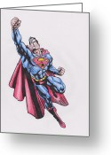 Wonder Woman Greeting Cards - Superman Greeting Card by Toni Jaso
