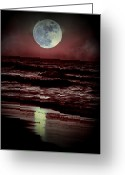 Ocean Scenes Greeting Cards - Supermoon Over the Ocean Greeting Card by Emily Stauring