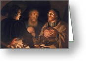 Resurrected Greeting Cards - Supper at Emmaus Greeting Card by Cryn Hendricksz Volmaryn