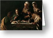 Catholic Painting Greeting Cards - Supper at Emmaus Greeting Card by Michelangelo Merisi da Caravaggio