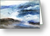 Art On Foam Greeting Cards - Surf And Seagulls Greeting Card by Marsh Nelson