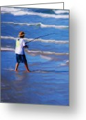 Sea Shore Digital Art Greeting Cards - Surf Casting Greeting Card by David Lane
