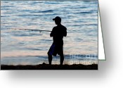 Surf Silhouette Greeting Cards - Surf Fishing At Dusk 6 Greeting Card by Susan Stevenson