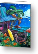 Surf Art Greeting Cards - Surf Shack Greeting Card by Jerri Grindle