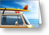 Hippie Greeting Cards - Surf Van Greeting Card by Carlos Caetano