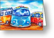 Campervan Greeting Cards - Surf Wagons Greeting Card by Deb Broughton