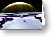 Ice Floes Greeting Cards - Surface Of Europa, Artwork Greeting Card by Christian Darkin