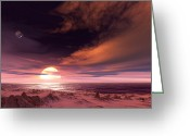 Extrasolar Planet Greeting Cards - Surface Of Extrasolar Planet Gliese 581c Greeting Card by Detlev Van Ravenswaay