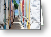 Waikiki Beach Greeting Cards - Surfboard Storage Waikiki Beach Greeting Card by George Oze